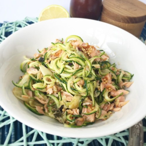 Zoodles with Roasted Fennel, Sage & Salmon